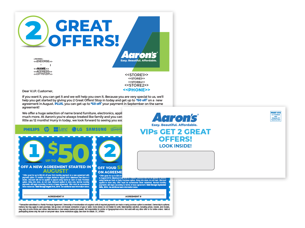 Aaron's personalized letter mailings with white window envelopes