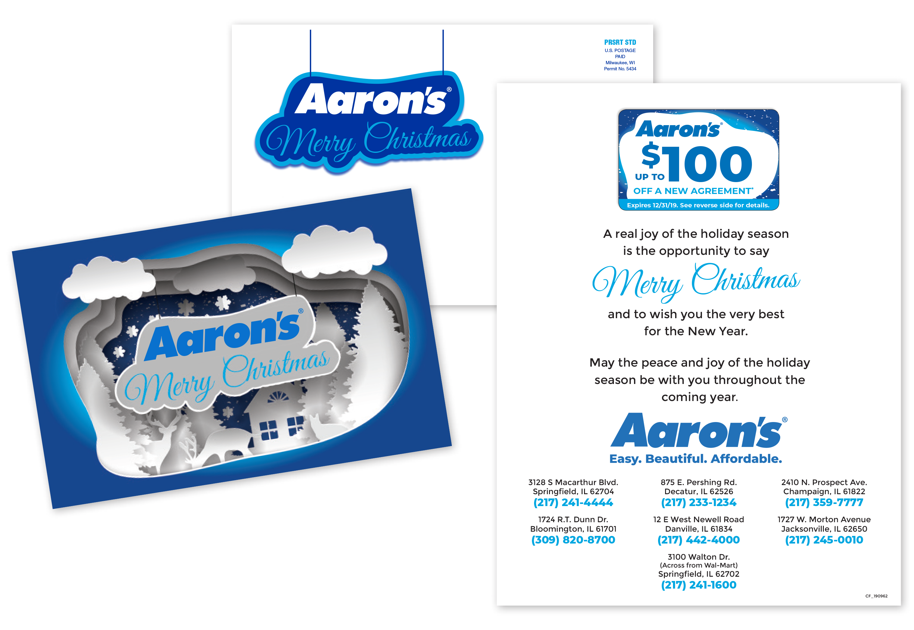 Aaron's Merry Christmas personalized postcards