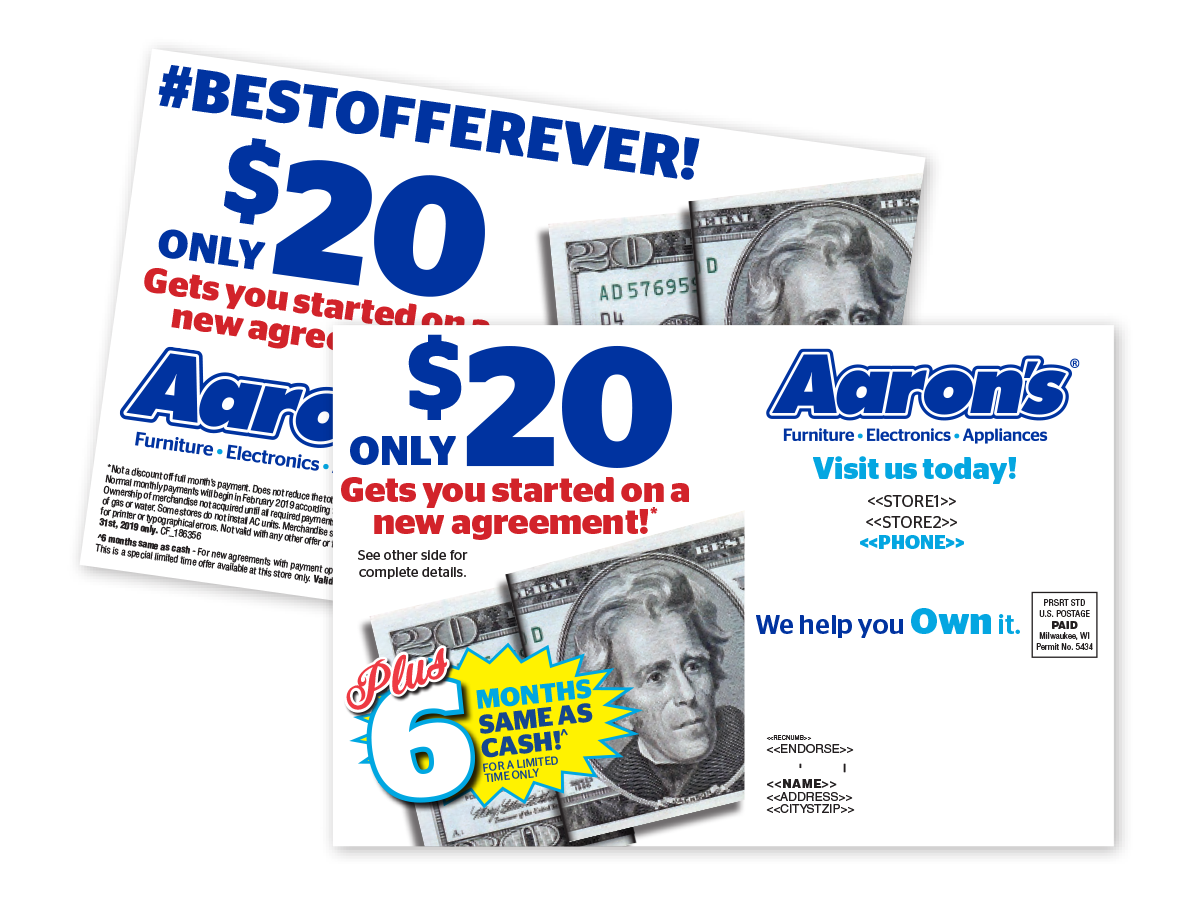 Aaron's personalized direct mailers with individual and store location data