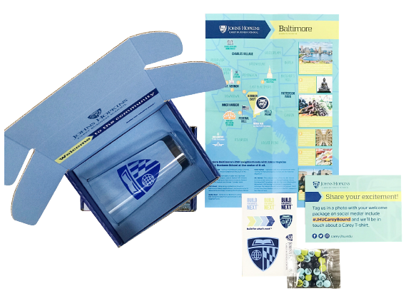 Johns Hopkins University admissions box kit contents