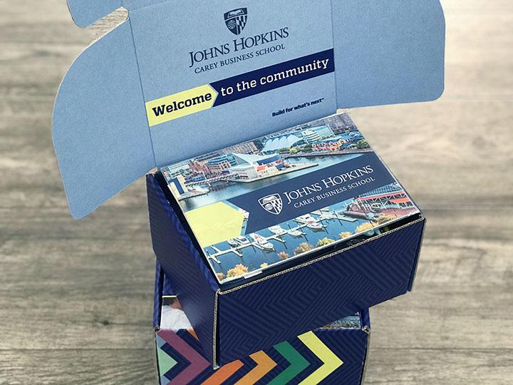 Johns Hopkins University admissions box kit opened