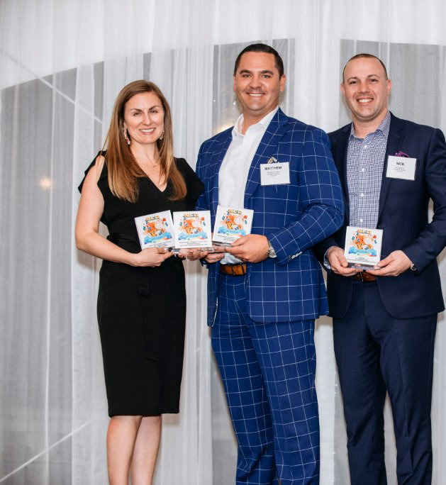 Karly, Matthew and Nick accepting the GAA Neographics award for best of category, campaigns in 2019