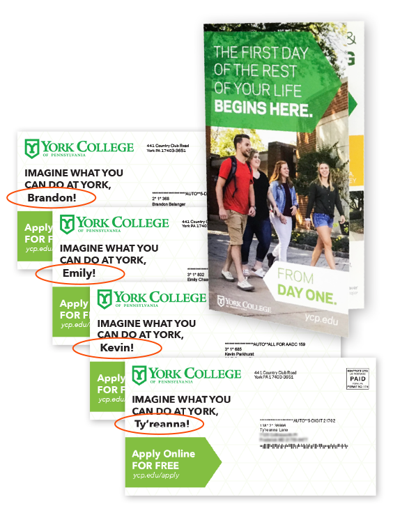 York College personalized direct mail for students