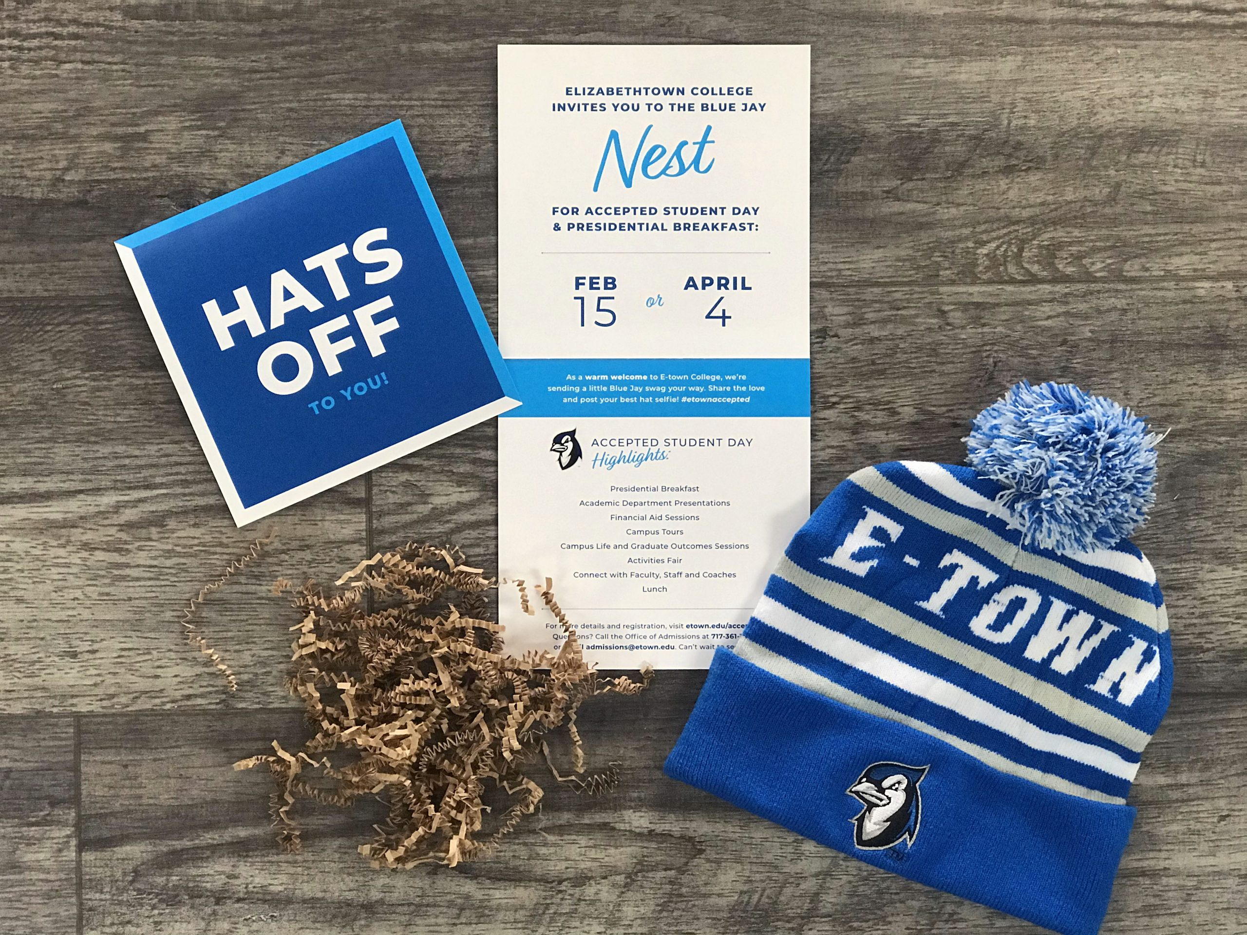 Elizabethtown College admissions box kit contents including