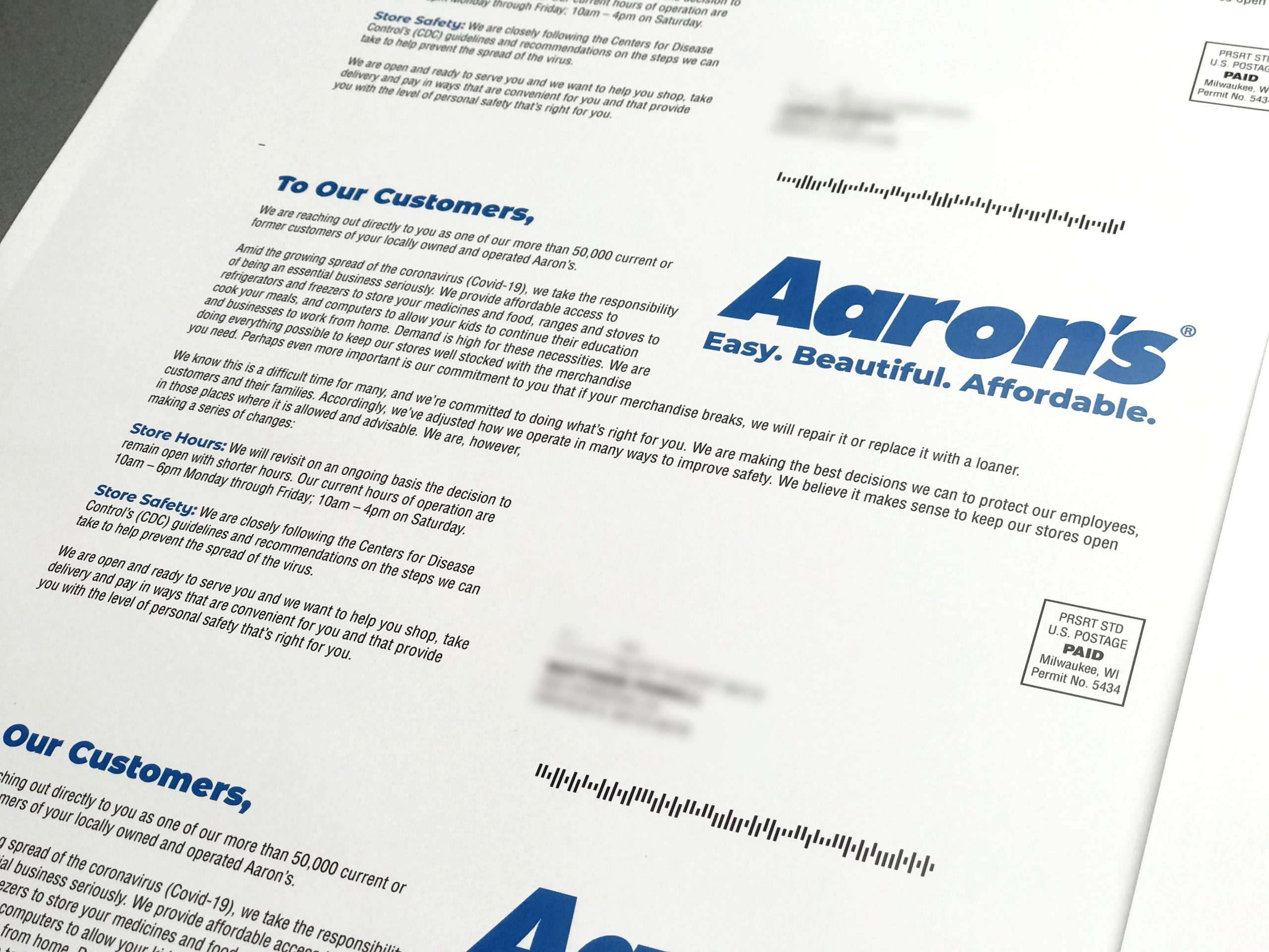 Aaron's personalized direct mail letter