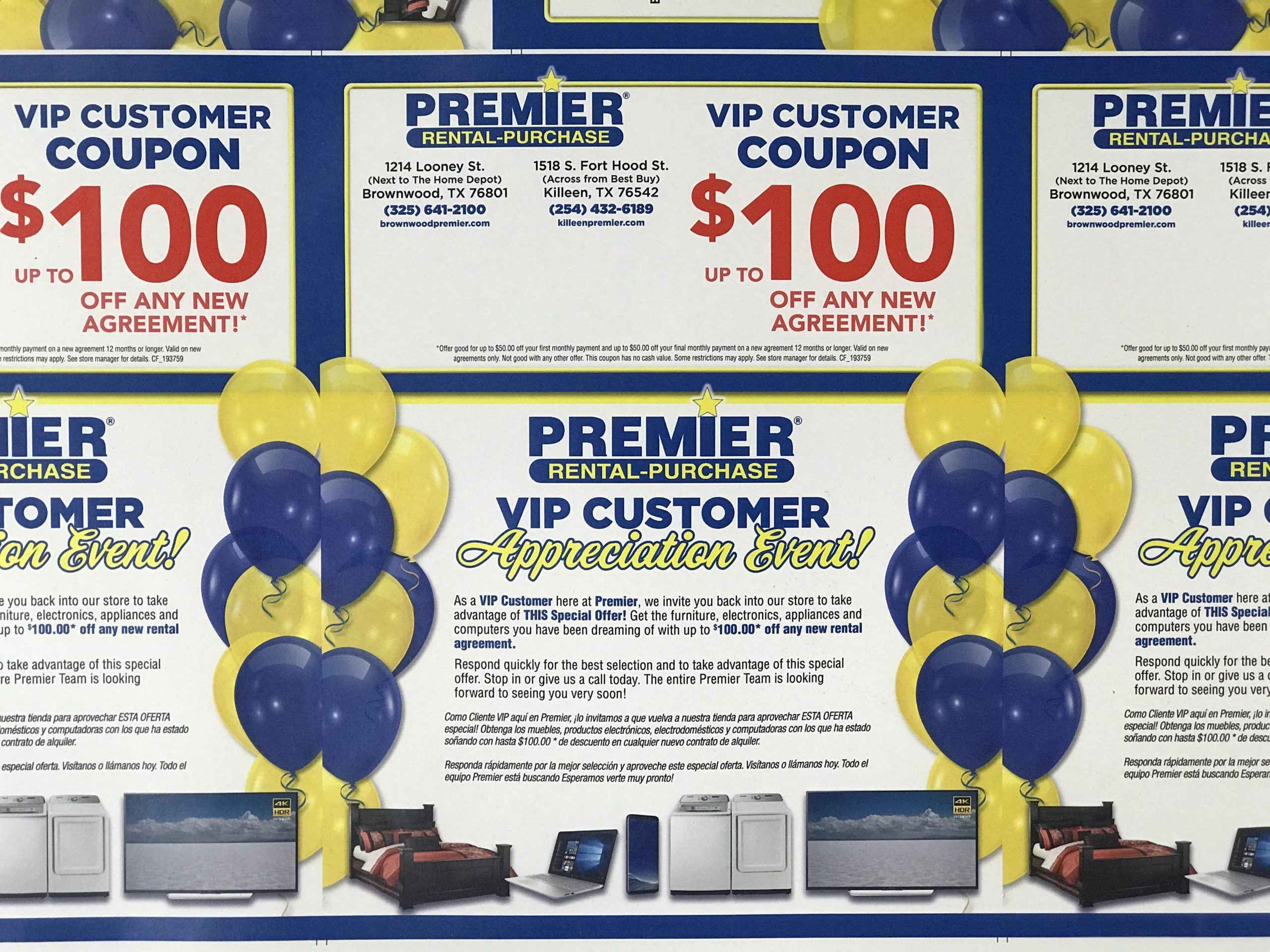 Premier Rental-Purchase personalized VIP customer coupon