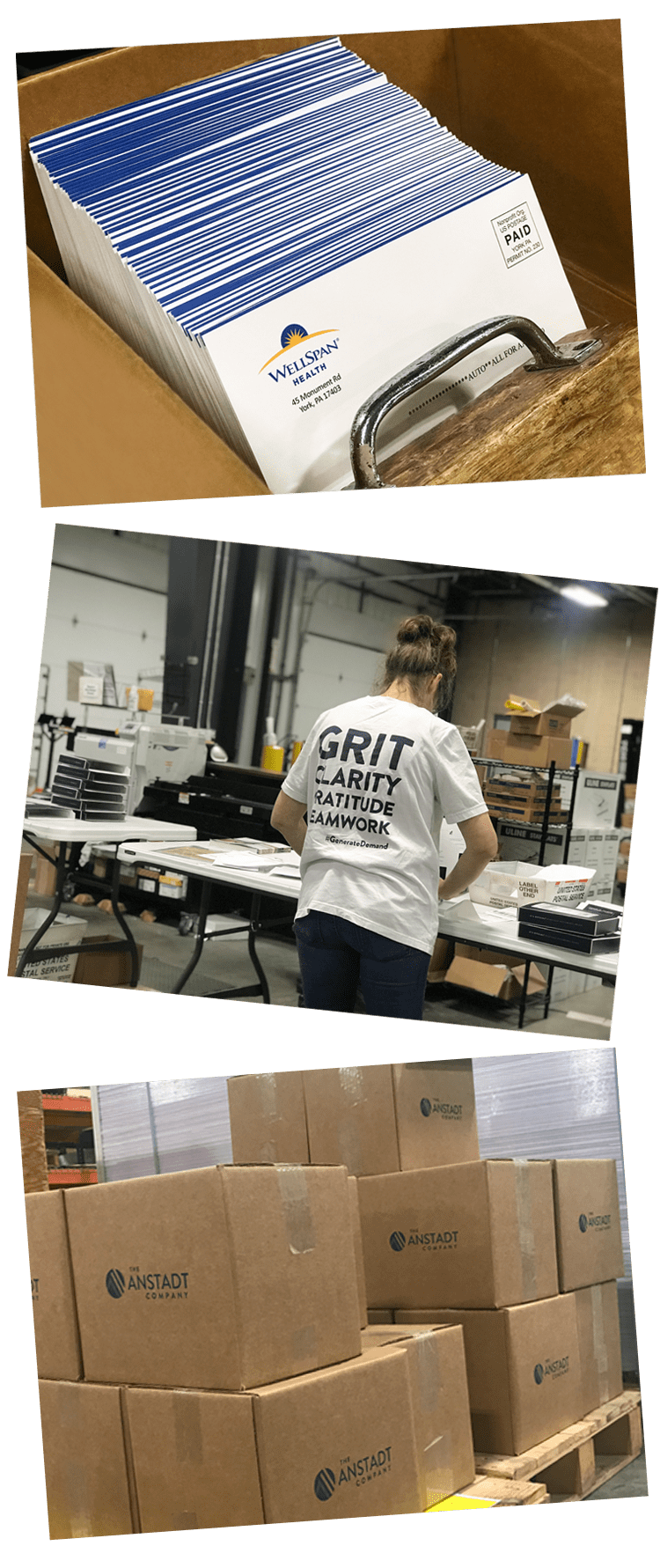 Snapshots of The Anstadt Company's mailing, fulfillment + distribution process