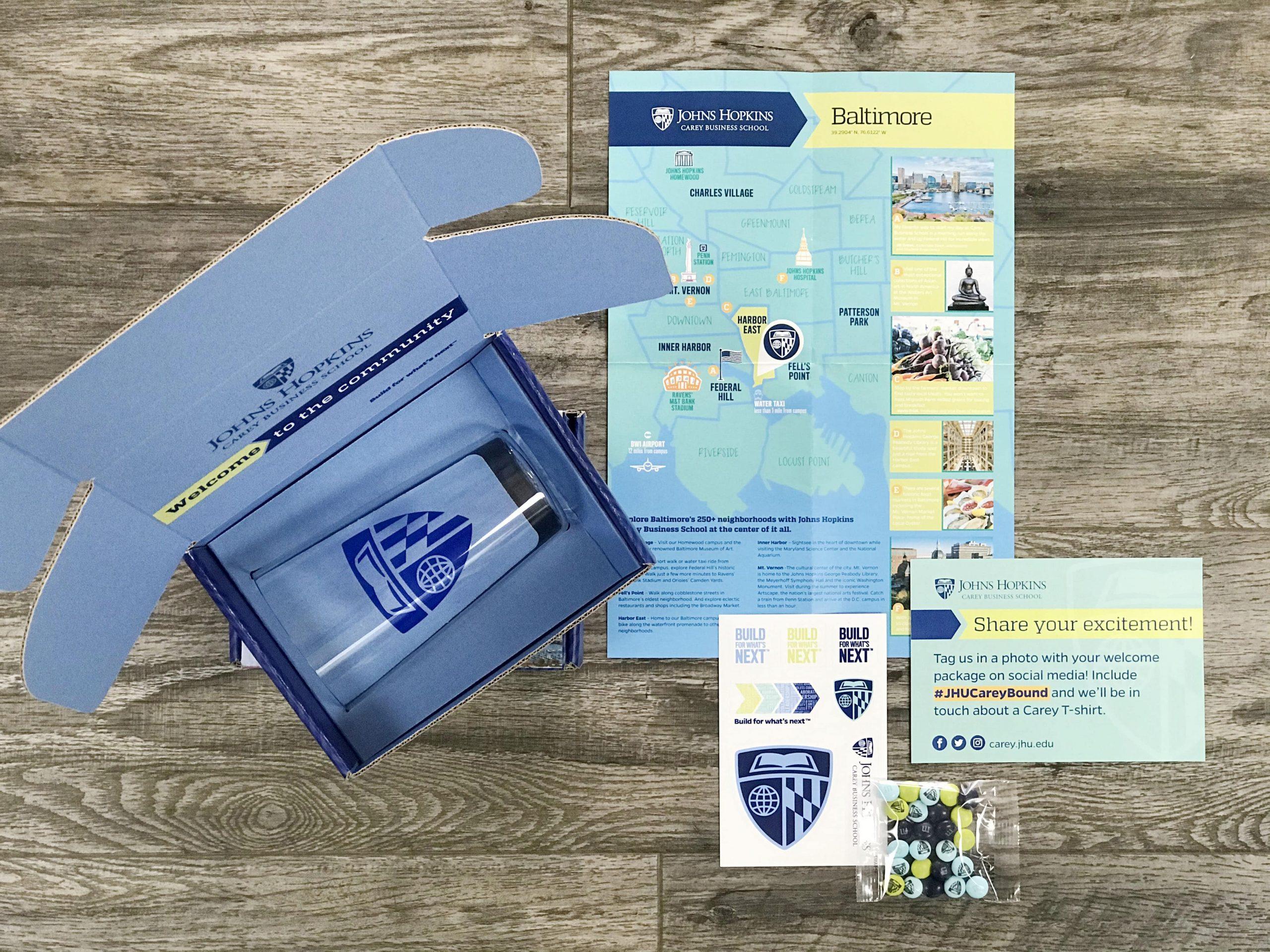 Johns Hopkins Carey Business School custom acceptance mailer contents