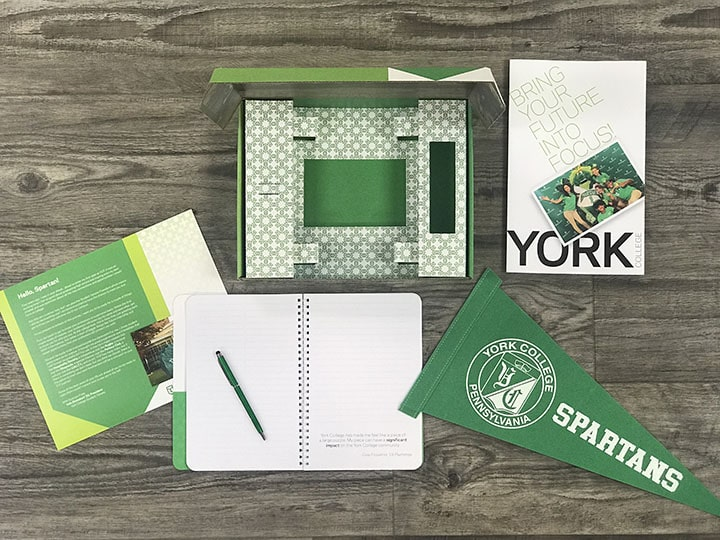 Contents of custom York College acceptance package