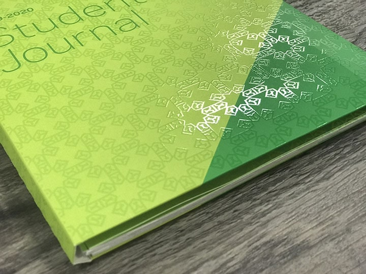 Student journal textured with The Anstadt Company's print enhancement