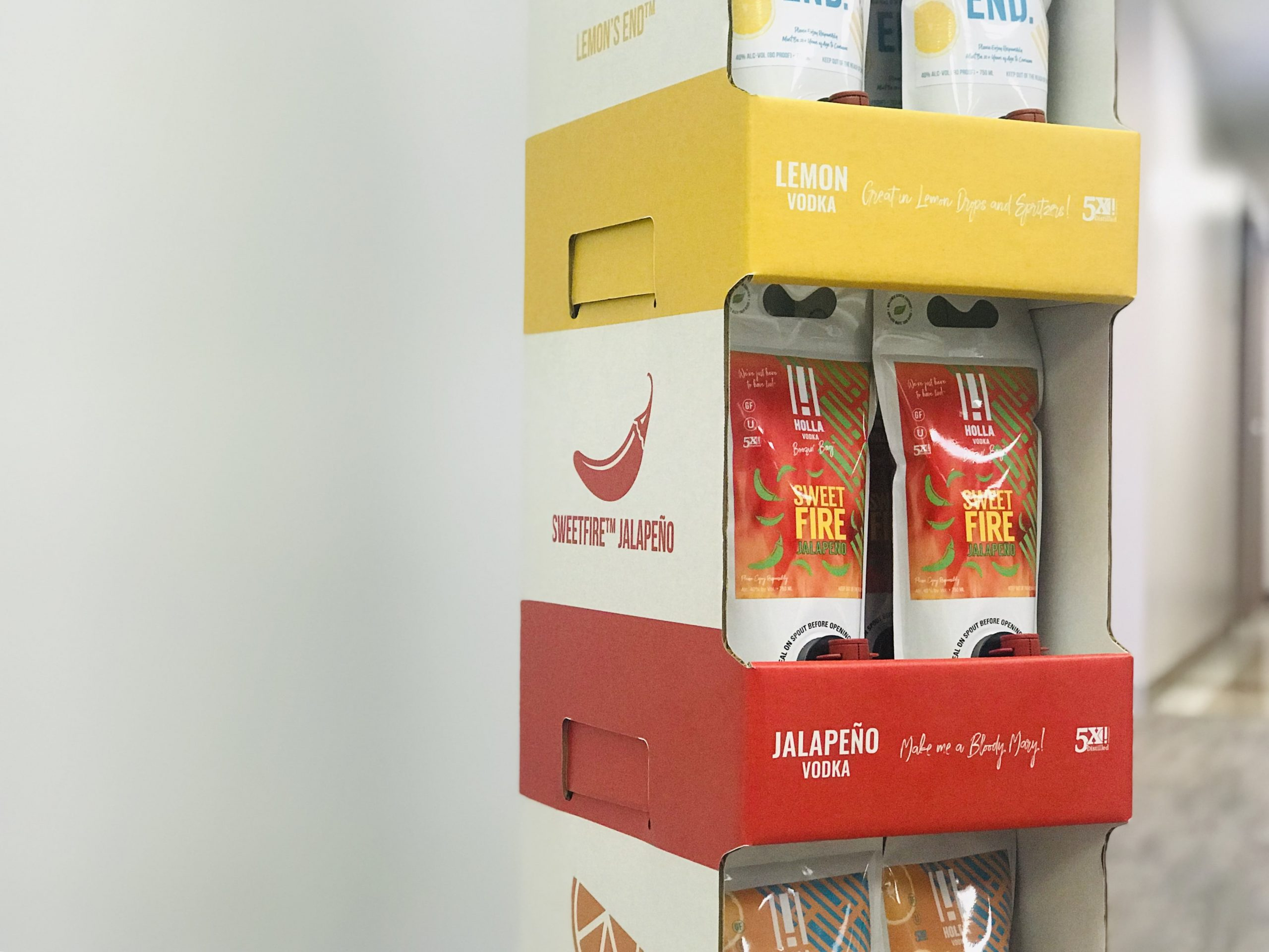 Holla Vodka custom retail display with packaging