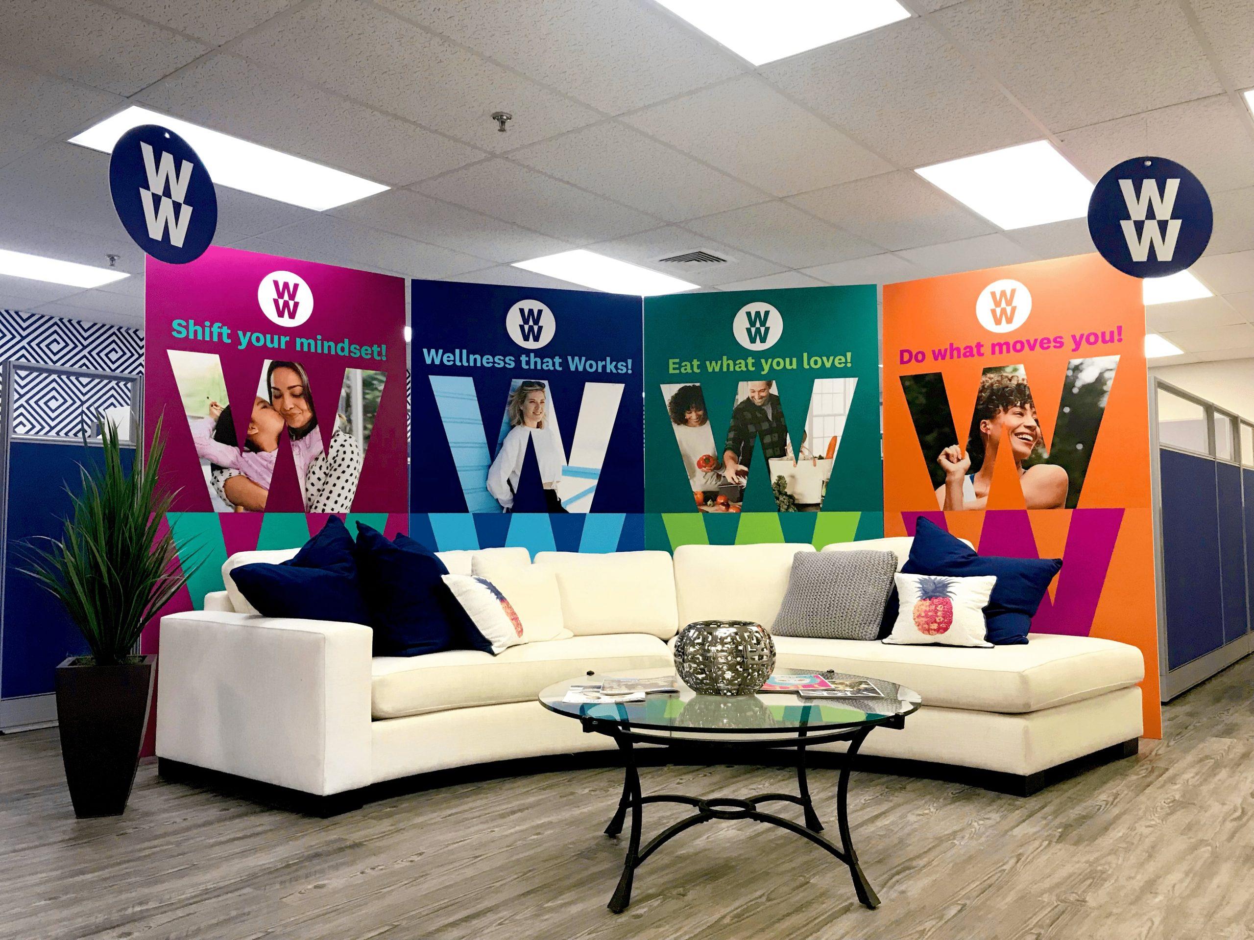 Brightly-colored WW Wellness display