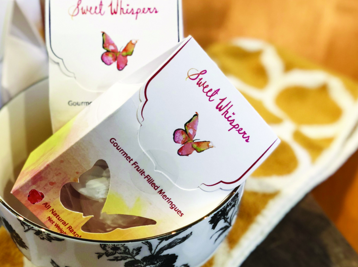 Sweet Whispers custom packaging for Gourmet Fruit-Filled Meringues