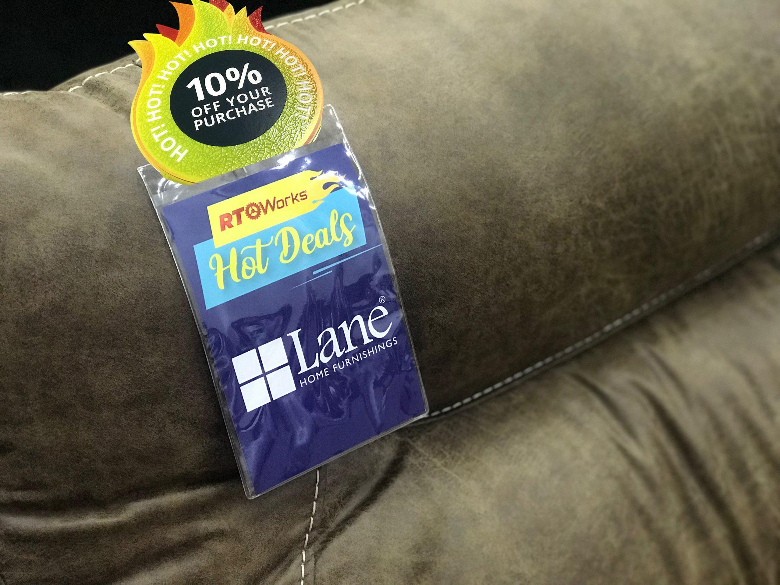 Lane Home Furnishings custom 10% off tag